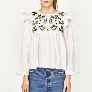 Zara Trafaluc Embroidered Flower Ruffle Top